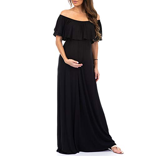 Dress Black Maternity Bridesmaid - Women's Open Shoulder Maternity Dress with Ruffles - Made in USA Black
