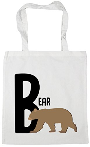 Tote B 10 for Beach Gym x38cm alphabet HippoWarehouse animal 42cm litres White Shopping bear Bag XAadpwwq7