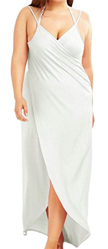 Jaycargogo Womens Sexy Camisole Profond Col V Robes Maxi Couleur Unie Ourlet Irrégulier Blanc
