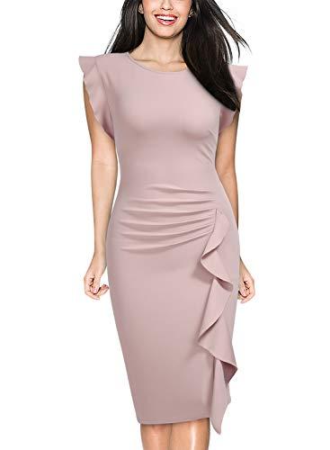(Miusol Women's Business Retro Ruffles Slim Cocktail Pencil Dress (Medium, Pink))