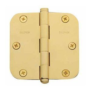 Baldwin 1140.I 4 Inch x 4 Inch Solid Brass Full Mortise Hinge with 5/8 Inch Radi, Satin Nickel