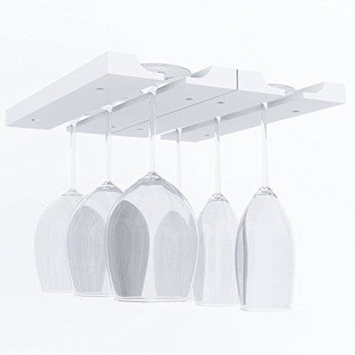 Under Cabinet Wooden Hanging Wine Glass Holder by ArtifactDesign Adjustable 2-Sectional Stemware Storage Rack White