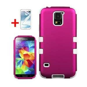 SAMSUNG GALAXY S5 PINK WHITE TUFF HYBRID COVER HARD GEL PROTECTOR CASE + SCREEN PROTECTOR from PREFERRED FASHION NETWORK