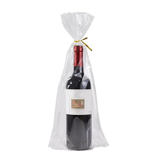 Cellophane Wine Bags - 100 Gusset Cello Bags with Ties - 2.8 mil Big Size Gift Wrap Cellophane Bag - Clear Wine Bottle Gift Bags Large for Favor (8
