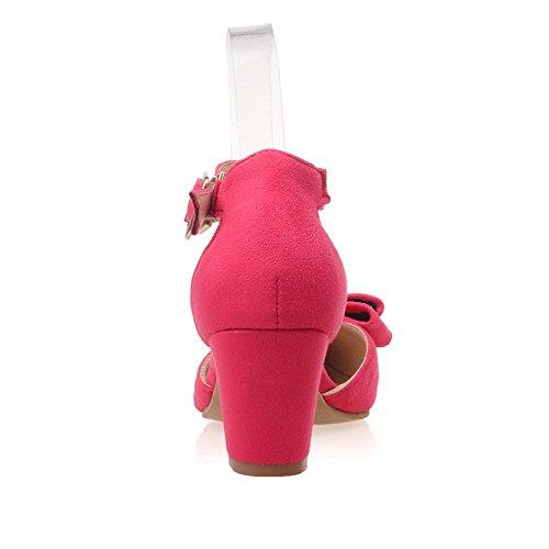 Balamasa Donna Caviglia Caviglia Vuota Con Fibbia Oro Bowknot Rosso Smerigliato