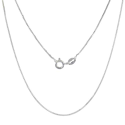 YYJewelry 0.5 MM Silver Rhodium Plated Box Chain Necklace Cable Chain Snake Chain Necklace for Women Girls,3 Pieces /17