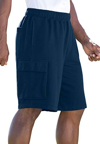 KingSize Fleece Cargo Shorts, Navy Big-2Xl