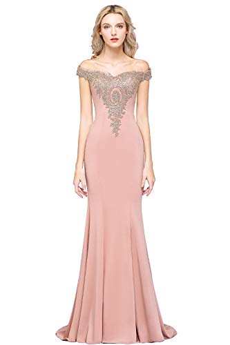 MisShow Women's Off-Shoulder Gold Prom Dress Long Formal Wedding Guest Dresses for Women,Dusty Rose,2 (Mermaid Wedding Dresses With A Sweetheart Neckline)