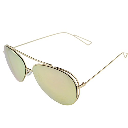Classic Oversize Aviator Sunglass for Women and Men,UV400 Mirrored Lens Polit Lightweight Golden Color - Colour Golden Aviator