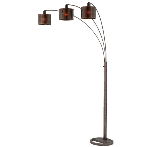 Cal Lighting BO-2036 Floor Lamp with Mica Glass Shades, Rust Finish