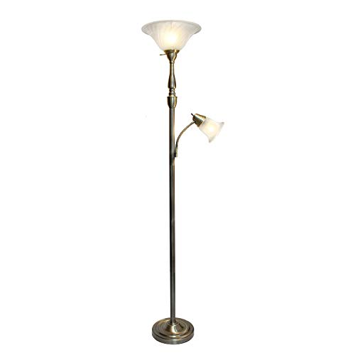 Elegant Designs LF2003-ABS 2 Light Mother Daughter White Marble Glass Floor Lamp, Antique ()