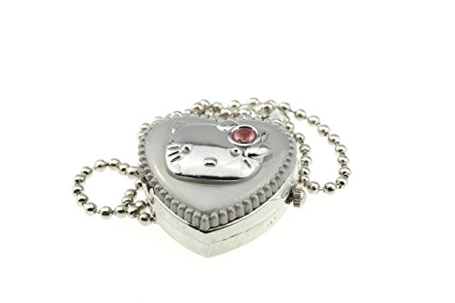 Designer Style Silver Heart Locket Watch Necklace Hello Cat Kitty Face Pink Quartz Watch Best New Sale