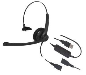 USB Training Headsets - Includes 2 Monaural Headsets with Detachable USB Cords, and one Y-Cord for Training - GN/JABRA QD Compatible - Can use Individually, or Two on one Computer with The Y-Cord