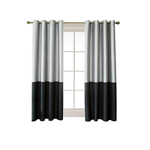 (Jinlei Room Darkening Thermal Insulated Curtains for Bedroom Triple Pass Coating Faux Silk Striped Color Block 100% Blackout Curtains for Living Room 52 x 63 Inch Black Set of 2 Curtain Panels)