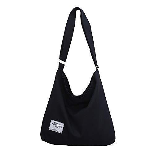 Black Women's Canvas Hobo Handbags Simple Casual Top Handle Tote Bag Crossbody Shoulder Bag Shopping Work Bag Crossbody Bags Women Canvas Tote Bag Canvas Messenger Bag Lightweight Crossbody Purse