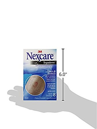 Nexcare Tegaderm Waterproof Transparent Dressing, 2-3/8 Inches X 2-3/4 Inches, 8 Count - Pack of 6