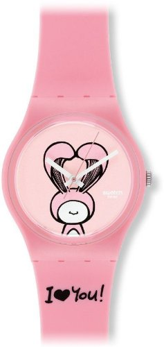 Swatch GZ265 lovely mine pink plastic strap pink dial women watch NEW