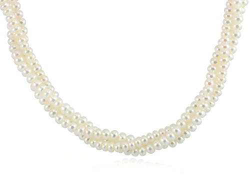 Twisted Cultured Necklace Pearl (ISAAC WESTMAN Twisted Three Row Freshwater Cultured Pearl Necklace, 925 Ball Clasp, 18