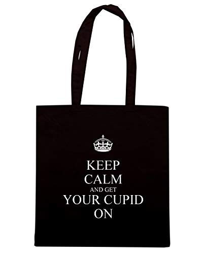 Borsa Shopper Nera TKC3216 KEEP CALM AND GET YOUR CUPID ON