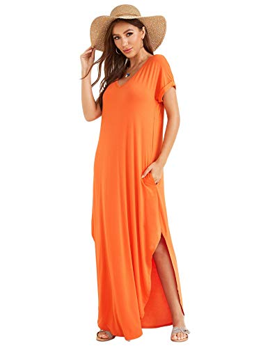 Verdusa Women's Casual V Neck Side Split Beach Long Maxi Dress Orange S