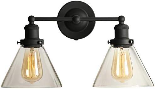 TANGSHI Vintage Vidrio Apliques de Luces Retro Negro Metal Industrial Lámparas de Pared Clásicas Iluminación Vendimia Rústico Para 2 Hotel Lámparas Decorativa Escalera Espejo Dormitorio: Amazon.es: Iluminación