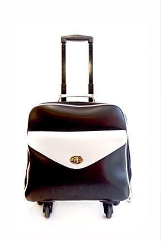 Removable Briefcase Ladies Wheeled (Hang Accessories Women's Black and White Retro Vegan Leather 360-Wheeled Rolling Carry-On 15