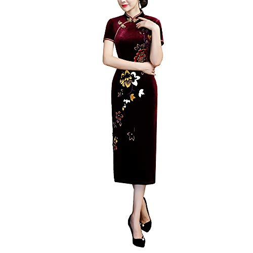 DingYiMing Women's Golden Velvet Retro Cheongsam Chinese Style Long Embroidery Cheongsam(XXX-Large,Wind red)