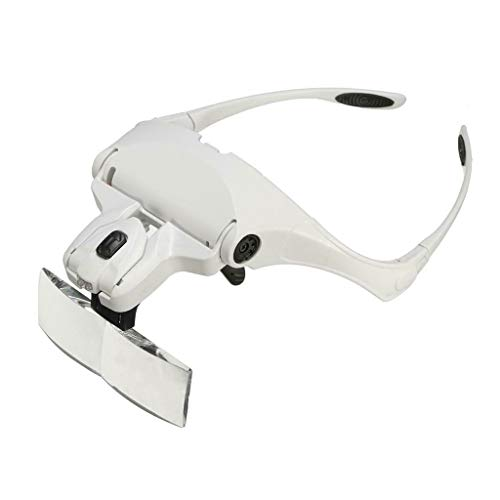Headhand Magnifier Glasses Loupe Light Bracket and Headband Head-Mounted Handsfree Reading Magnifying Glasses Deluxe Head-Worn for Close Work Jeweler's Loupe Glasses