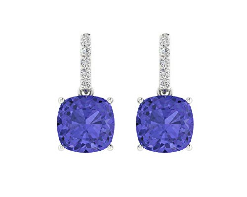 - Euforia Jewels IGI Certified 14K Fine Gold Natural Tanzanite 6MM Cushion Cut AAA++ Quality and 0.05 Carats Natural Diamond SI/G-H-I Round Cut Dangling Earring With Complimentry Silver Post.