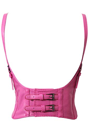 Alivila.Y Fashion Womens Leather Steampunk Underbust Waist Belt Corset AS577-Hot Pink-XXL