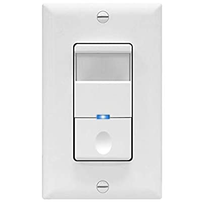 TOPGREENER TDOS5-J-W Motion Sensor Switch, No Neutral Required, PIR Passive Infrared Sensor, Occupancy Sensor Wall Switch, 500W 1/8HP, Ground Wire Required, Single Pole, White, 1/2/6-Packs