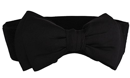SportsWell Women's Fashionable Bowknot Wide Belt Girls Lady Stretch Cinch Dress Waistband Black (Wide Dress Belt)