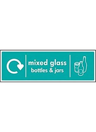 Caledonia signos 16638 M mixed cristal botellas y tarros Wrap Reciclado signo, plástico rígido,