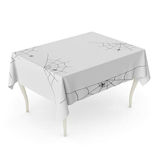 Tinmun Waterproof Tablecloth 52 x 70 Inches Net of Spider Webs Cobwebs for Halloween Abandon Abandoned Decorative Rectangular Tabletop Cover for Outdoor Indoor Use]()