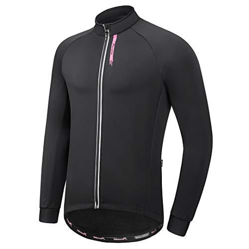 Przewalski Softshell Jacket for Men, Fleece Lined Cycling Bike Jacket Lightweight, Windproof, Waterproof Black