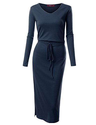 V-Neck Drawstring Knit Dress - 1