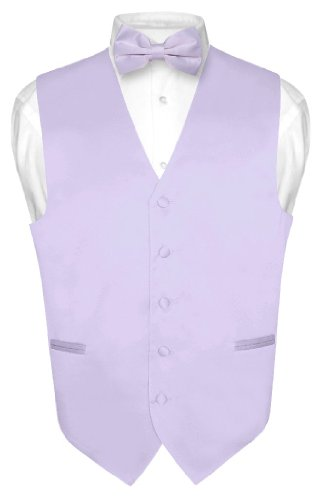 - Men's Dress Vest & BowTie Solid LAVENDER PURPLE Color Bow Tie Set size Large