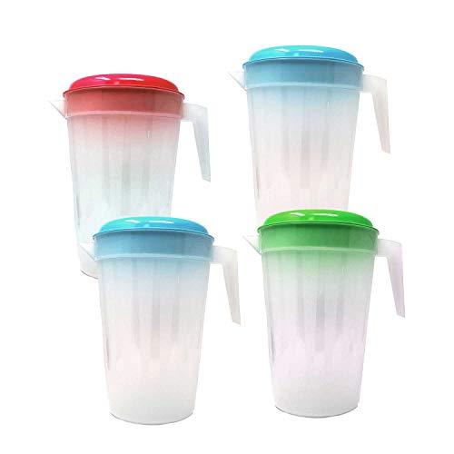 Heavy Duty Plastic Base - 4 Pack Heavy Duty 1 Gallon/4.5 Liter Round Clear Plastic Pitcher Jug With Lid See Through Base & Handle For Water Iced Tea Beverages