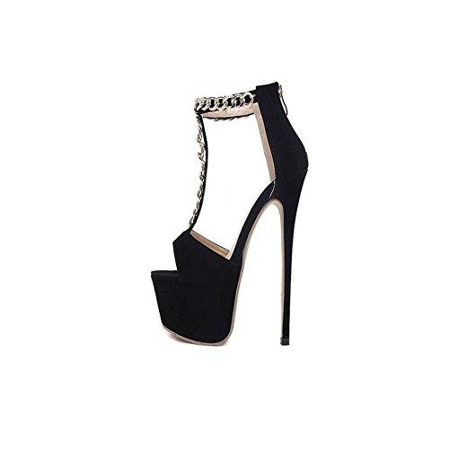 Passeggiata 16cm Heel Impermeabile Tacco Mzg Mostra A Ultra Belle Catena Sandali High Femminili Black Della Piattaforma qAwn1aT