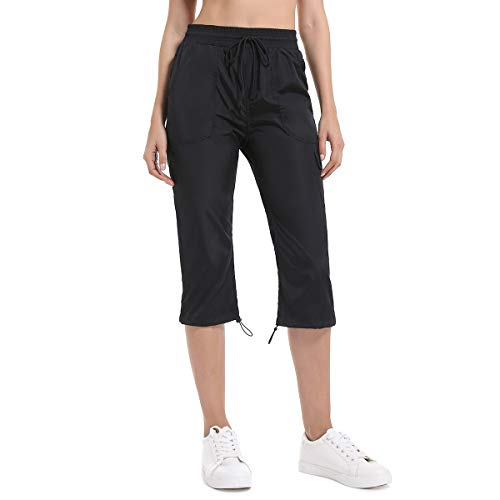 Pants Cargo Capri (JTANIB Women's Cargo Woven Capri Pants, Drawstring Waist Active Cropped Pants with Pockets Black XL)