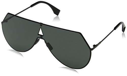 Fendi Women's Shield Aviator Sunglasses, Black/Grey Blue, One ()