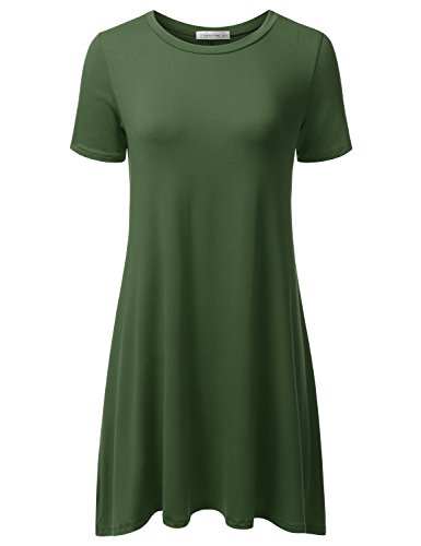 JJ Perfection Women's Casual Short Sleeve Loose Fit Swing T-shirt Tunic Dress OLIVE S