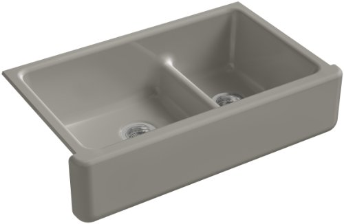 KOHLER K-6427-K4 Whitehaven Smart Divide Self-Trimming Under-Mount Apron-Front Double-Bowl Kitchen Sink with Tall Apron, 35-1/2-Inch X 21-9/16-Inch X 9-5/8-Inch, - Bowl Rimming Cashmere Self