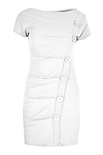 Womens Ladies Crepe Bodycon Plain High Neck Front Button Cap Sleeve Shift Dress