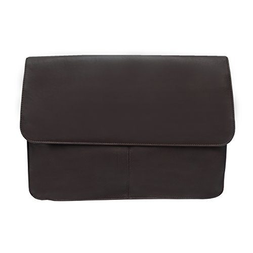 Piel Leather Three Section Flap Portfolio 9721 Chocolate Leather - Leather Three Section