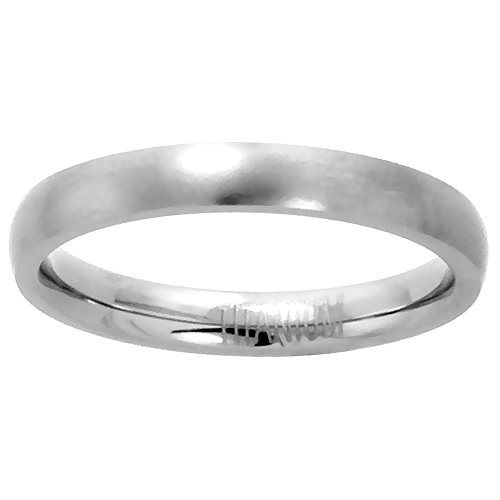 3mm Titanium Wedding Band/Thumb Ring Comfort-Fit Satin Finish 5/16 inch, size -