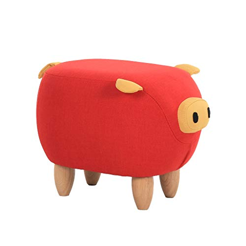 Birch Sofa - Cartoon Pig Upholstered Footstool Ottoman Pouffe Birch Solid Wood Living Room Bedroom Square Change Shoe Stool Sofa Stool Removable Linen Cover(34CMx37CMx50CM)