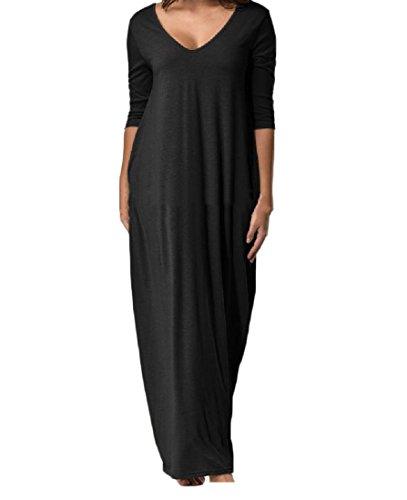 Confortables Femmes, Plus La Taille Du Cou V Sans Dossier Solide Robes De Plage Maxi Baggy Noir