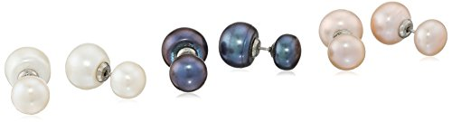 Sterling Silver 10-10.5 and 8-8.5mm 3-Pairs Multi-Color Freshwater Cultured Double Pearl Stud (Multi Color Freshwater Pearl Earrings)