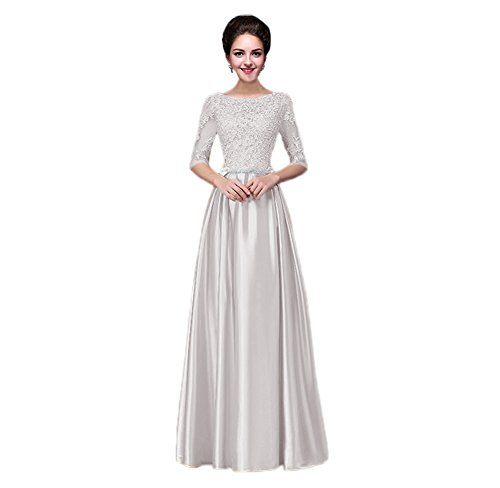 (vimans Elegant Long Scoop Neck Light Grey Bridal Reception Maxi Satin Dresses, 2)